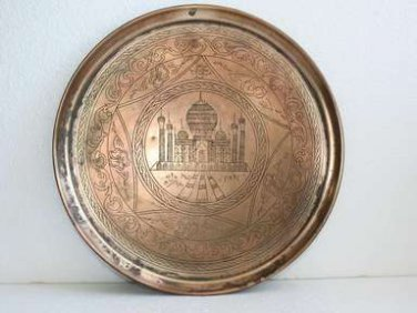 "Old Vintage Islamic Arabic Copper Plate Tray 12"" Engraved Signed 1962 Rare Decor"