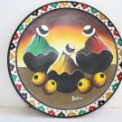 "Vintage Bolivia Hand Painted Wooden Plate Tray Unique Wood Art 9"" Home Bar Decor"