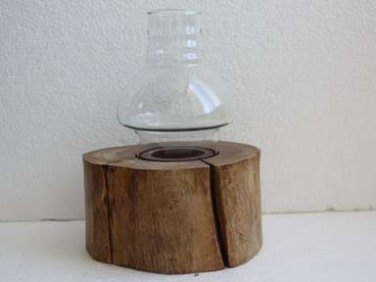 Old Vintage Wooden Candle Holder with Clear Glass Round Shade Chimney Handmade