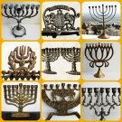 Judaica Vintage Hanukkah Lamp Jewish Brass  Bronze Menorah Jerusalem Holy Land