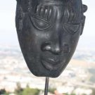 Old Vintage Terracotta African Mask On Stand Rare Collectible Home Decor 12""