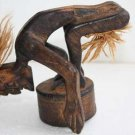 Vintage Hand Carved Wooden Ashtray Tarzan Figurine Primitive Home Decor Rare 5""