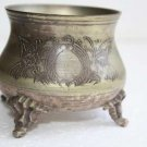 Beautiful Old Vintage Footed Sterling Silverplate Small Bowl EPNS Bronze Feet 4""