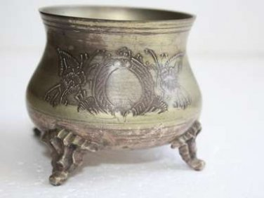 """Beautiful Old Vintage Footed Sterling Silverplate Small Bowl EPNS Bronze Feet 4"""""""