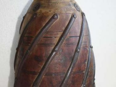 1900's Indian Antique Wooden Hand Craved Decorative Reclaimed Pot Vase Rustic
