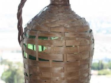 Antique Demijohn Carboy Wicker Bottle Wine Brandy Whiskey Liquor Water Green 14""