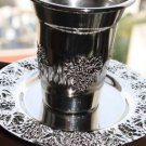 Judaica Shabbat Silver Plated Wine Kiddush Cup Goblet with Matching Tray Plate