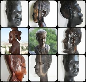 Head Wood Hand Made Carved Vintage Collectible Home Decoration Wooden Rare Ebony