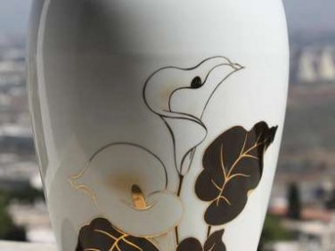 Mid Century Modern Israel Naaman Vase Hand Painted Gold Black Signed Home Decor