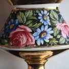 Vintage Porcelain Ceramic Vase Urn Oval Form with Gold and Flowers Collectible