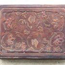 "Antique Tooled and Painted Brown Thin Leather Jewelry Trinket Box 9"" Rare"