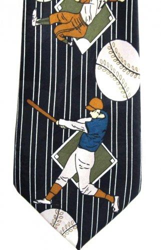Baseball Silk Necktie Di Moda Mens Tie Batter Catcher Games Old School Blue White Stripe