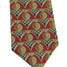 Givenchy Monsieur Silk Necktie Classic European Scrolls Columns Shield Crimson Gold Blue Tie