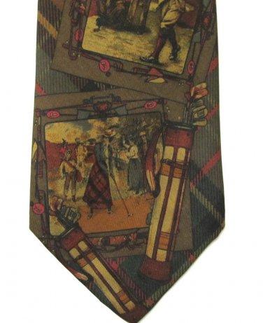Ralph Lauren Polo Silk Necktie Classic Gold Old School Tartan Mens Tie Brown Green Red Gold