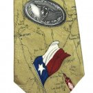 Texas Longhorn Necktie Silk Tabasco Mens Tie State Flag Sheriff Cactus Spurs Map Tan Vintage