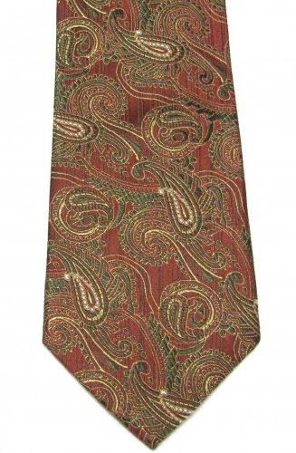 Peacock Vintage Necktie Mens Tie Silk Paisley Brocade Green Gold Coral 59 Inch Retro Fashion