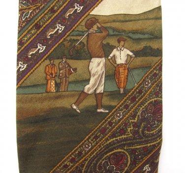 Vintage Golf Necktie Harold Powell Mens Tie Italian Silk Old School Paisley Green Brown Red 57 Inch