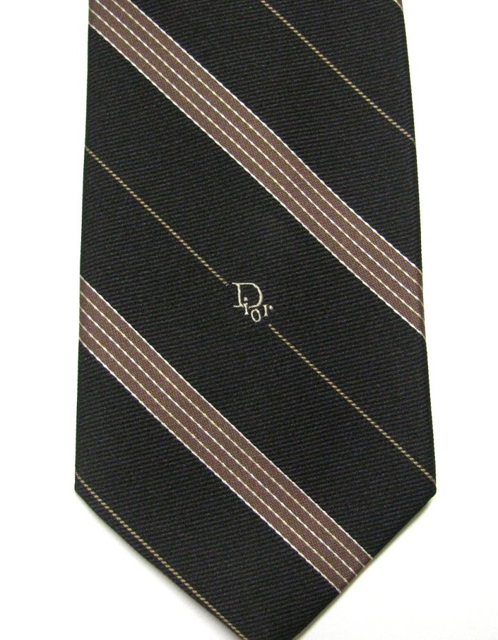 Christian Dior Vintage Necktie Mens Designer Tie Dark Brown Tan Stripe 70s Poly Silk 54 Inch