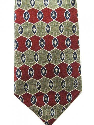 Geoffrey Beene Silk Necktie Mens Designer Tie Italian Crimson Red Gold Blue Basket Weave 58 Inch
