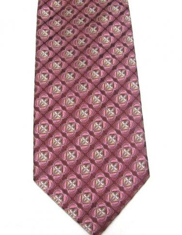 JZ Richards Silk Necktie Mens Designer Tie Shimmer Pride Cranberry Rose Pink Tan 58 inch
