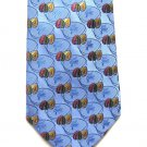 Harold Powell Silk Tie Mens Necktie Soft Blue Embroidered Flower Rose Gold Green 59.5 Inch