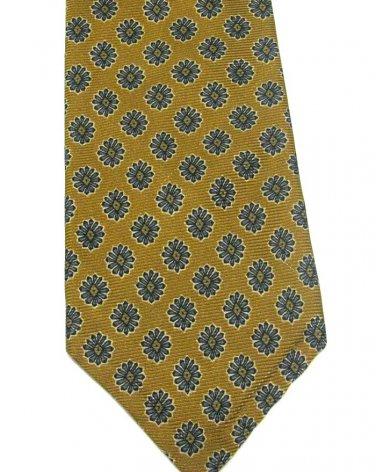 Robert Talbott Silk Tie Mens Tie Italy Mustard Gold Blue Flowers Daisy Best Of Class Woven 59