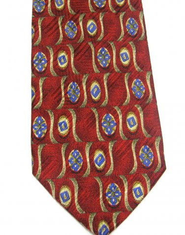 Italian Silk Tie Robert Talbott Necktie Best Of Class Mod Red Blue Gold Flower Scroll 59