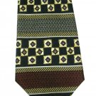 Perry Ellis Necktie Mens Tie Silk Mod Classic Art Stripe Medallion Gold Red Blue Woven 58