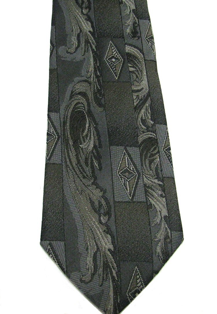 Vintage Tie Mens Necktie Towncraft Gray Damask Diamonds Scroll Leaf 57