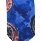 Abstract Necktie Mens Tie Patricio Watercolor Blue Rust Polyester Funky Modernist