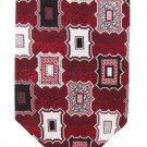 Zianetti Italian Silk Necktie Dark Crimson Red Black White Frames Vintage Modern Mens Tie 58