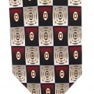 "Chas Reed Silk Necktie Mens Tie Extra Long 60"" Silver Gold Maroon Mod Rectangle"