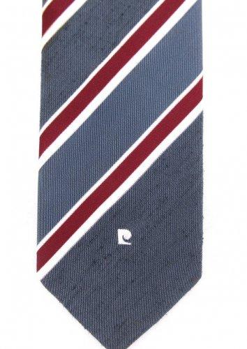 Pierre Cardin Paris NY Vintage Tie Mens Necktie Stripe Skinny Gray White Maroon Textured Poly 58