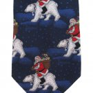 St Nicks Tie Shop Necktie Christmas Santa Polar Bear Silk Hand Made Holiday Blue Red White 59