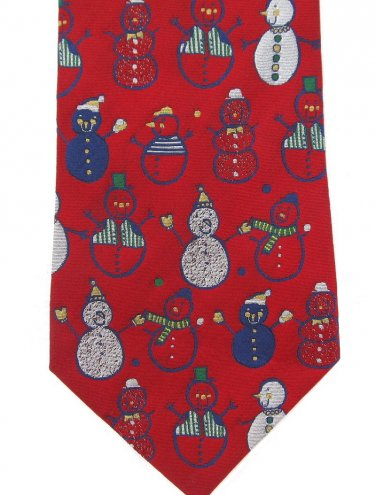 Snowman Necktie American Greetings Collectible 2002 Christmas Holiday Tie Red Blue Green 58