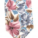 Oscar De La Renta Tie Mens Long Necktie Hibiscus Pansy Tropical Flower Blue Rose Silk Vintage 59