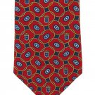 Classic Tommy Hilfiger Tie Mens Italian Silk Extra Long 60 Maroon Blue Gold Rings Crest