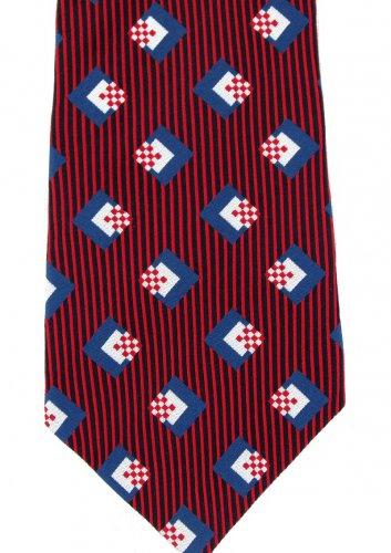 Countess Mara 1938 Silk Necktie Mens Tie Vintage Silk Retro Mod Blue Red Stripe Silver Mad Men 58