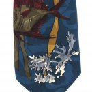 Wembley Starshine Necktie Vintage Tropical Fish Sea Ocean Coral 60s Teal Mens Novelty Tie