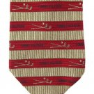 Tommy Hilfiger Golf Clubs Necktie Italian Silk Mens Luxury Tie Red Gold Stripe 59