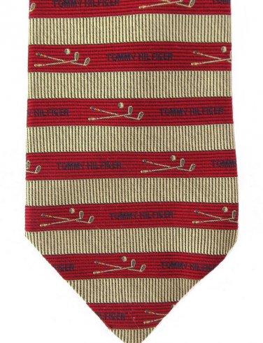Tommy Hilfiger Golf Clubs Necktie Italian Silk Mens Luxury Tie Red Gold Stripe 59