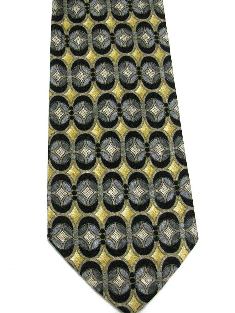 Italian Silk Necktie Mens Tie Pavia Extra Long 61 Black Gold Silver Modern Abstract
