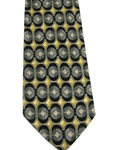 Italian Silk Necktie Mens Tie Pavia Extra Long 61 Black Gold Silver Modern Abstract