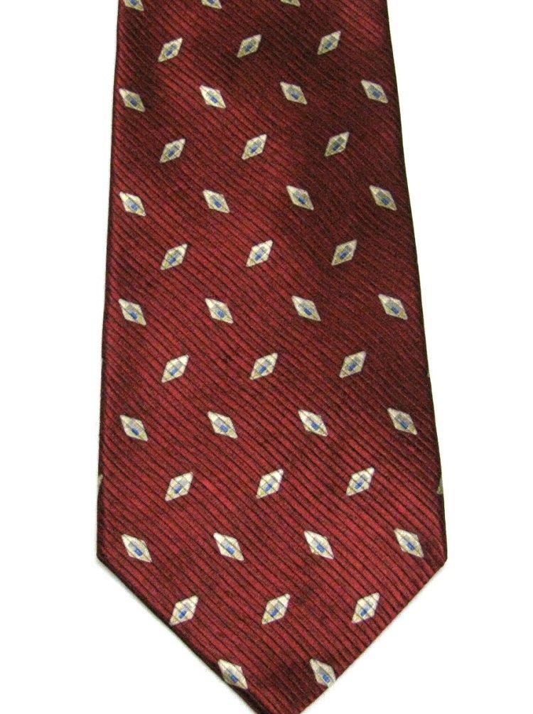 Roundtree Yorke Imported Silk Tie Mens Necktie Dark Crimson Red Woven Diamonds Gold 59