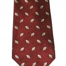 Roundtree Yorke Imported Silk Tie Mens Necktie Dark Crimson Red Woven Diamonds Gold 59