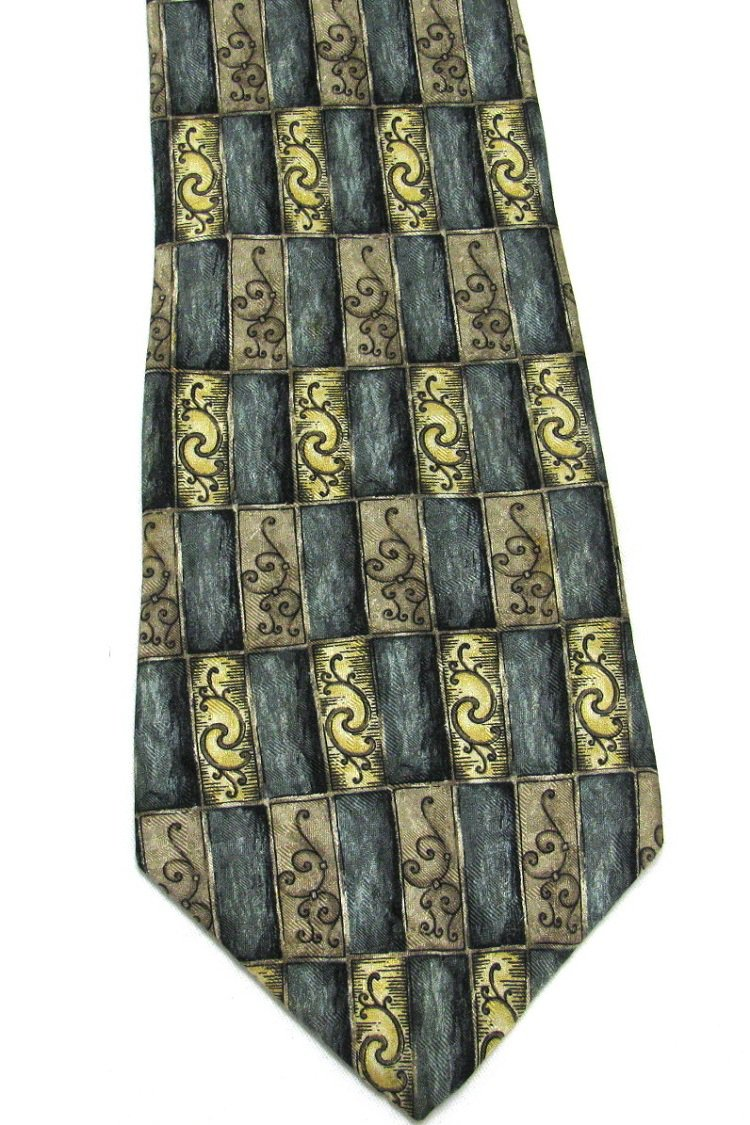Barrington Silk Tie Mens Necktie Teal Gold Tan Squares Black Costa Rica 59