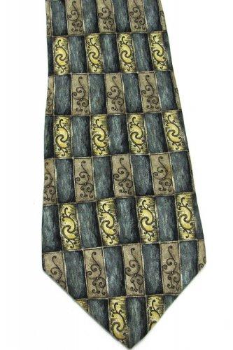 Barrington Silk Tie Mens Necktie Teal Gold Tan Squares Black Costa Rica 59