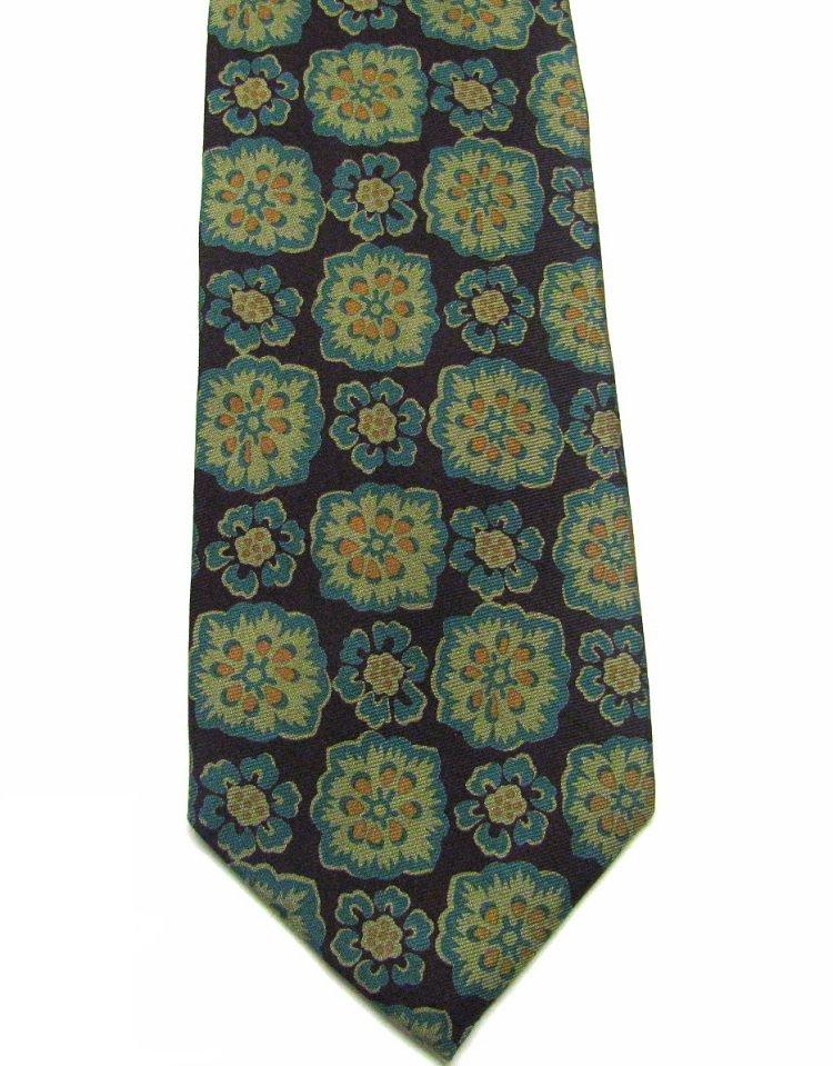 Ledbury Ltd Silk Necktie Mens Tie Tropical Flower Plum Floral Aqua Mustard 57.5