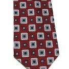 Colours Alexander Julian Extra Long Silk Tie Mens Necktie Mod Square Maroon Silver Black 61.5