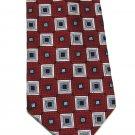 Colours Alexander Julian Extra Long Silk Tie Mens Necktie Mod Square Maroon Silver Black 61.5